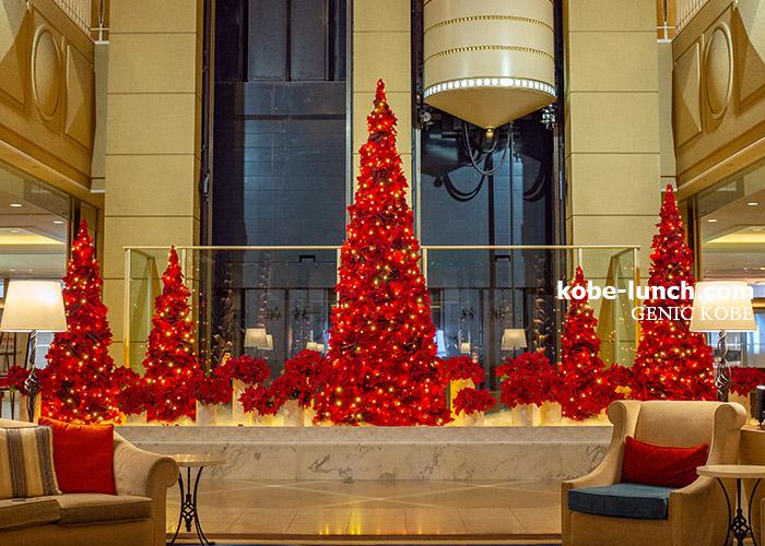 神戸メリケンパークオリエンタルホテル 赤いクリスマスツリー