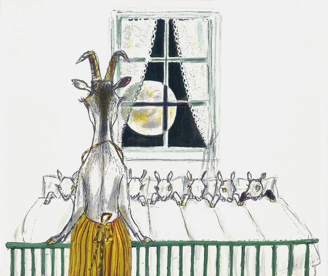 フェリックス・ホフマン 絵本『おおかみと七ひきのこやぎ』より 小さな絵本美術館蔵 ©フェリックス・ホフマン