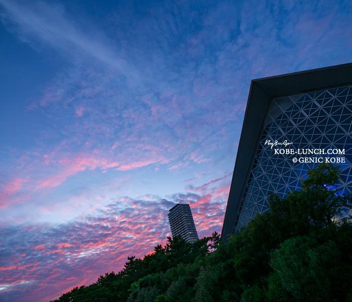 須磨水族館の夕陽